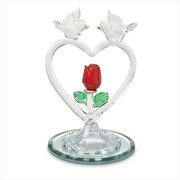 Glass Doves on Heart Figurine